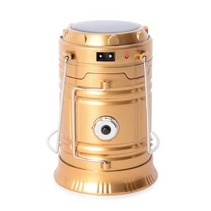 Golden Super Bright Collapsible Solar Rechargeable LED Camping Lamp with Flashlight (Detachable Plug Charger)