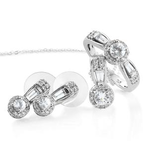 Natural White Zircon Platinum Over Sterling Silver Earrings, Ring (Size 5) and Pendant With Chain (20 in) TGW 3.60 cts.