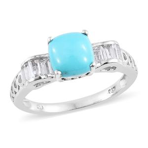 Arizona Sleeping Beauty Turquoise, White Topaz Platinum Over Sterling Silver Royal Ring (Size 7.0) TGW 2.90 cts.