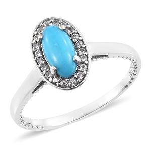 Arizona Sleeping Beauty Turquoise, Cambodian Zircon Platinum Over Sterling Silver Halo Ring (Size 10.0) TGW 1.16 cts.