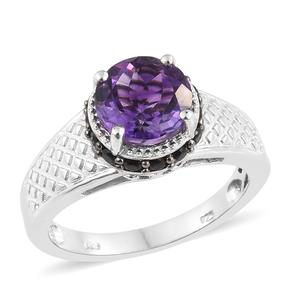 Moroccan Amethyst, Thai Black Spinel Platinum Over Sterling Silver Ring (Size 7.0) TGW 3.45 cts.