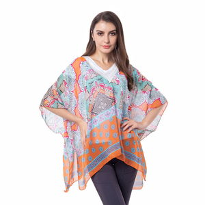 Orange 100% Polyester Lace V-neck Floral Pattern Poncho (One Size)