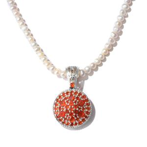 Crimson Fire Opal, Freshwater Pearl Platinum Over Sterling Silver Pendant with Beads Necklace (18 in) TGW 1.79 cts.