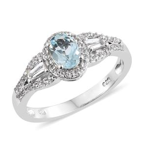 Espirito Santo Aquamarine, White Topaz Platinum Over Sterling Silver Ring (Size 7.0) TGW 1.33 cts.