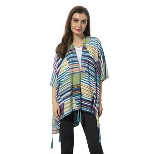 Lake Blue 100% Polyester Stripe Pattern Kimono with Tassels (One Size)