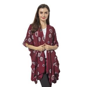 Wine Red 100% Polyester Square Pattern Kimono with Falbala Sleeve (35.43x31.49 in)
