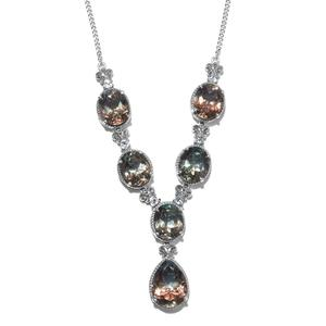 Aqua Terra Costa Quartz, White Topaz Platinum Over Sterling Silver Necklace (18 in) TGW 36.13 cts.