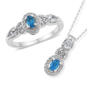 Malgache Neon Apatite, White Topaz Platinum Over Sterling Silver Ring (Size 10) and Pendant With Chain (20 in) TGW 1.64 cts.
