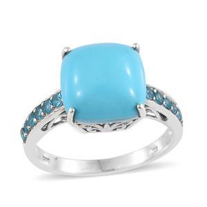Arizona Sleeping Beauty Turquoise, Malgache Neon Apatite Platinum Over Sterling Silver Ring (Size 8.0) TGW 5.71 cts.