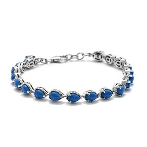 Ceruleite, Tanzanite Platinum Over Sterling Silver Bracelet (7.25 In) TGW 7.15 cts.