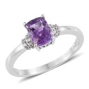 Rose De Maroc Amethyst, Cambodian Zircon Platinum Over Sterling Silver Ring (Size 9.0) Total Gem Stone Weight 1.40 Carat