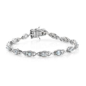 Espirito Santo Aquamarine Platinum Over Sterling Silver Bracelet (7.25 In) TGW 4.34 cts.