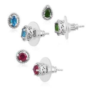 Malgache Neon Apatite, Niassa Ruby, Russian Diopside Platinum Over Sterling Silver Set of 3 Stud Earrings TGW 1.84 cts.