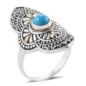 Bali Legacy Collection 18K YG Arizona Sleeping Beauty Turquoise Sterling Silver Elongated Ring (Size 7.0) TGW 0.76 cts.