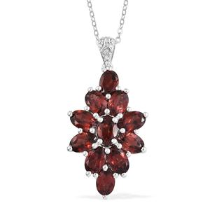 Mozambique Garnet, Cambodian Zircon Platinum Over Sterling Silver Pendant With Chain (20 in) TGW 6.40 cts.