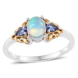 Ethiopian Welo Opal, Tanzanite 14K YG and Platinum Over Sterling Silver Ring (Size 7.0) TGW 1.14 cts.