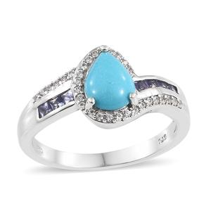 Arizona Sleeping Beauty Turquoise, Multi Gemstone Platinum Over Sterling Silver Ring (Size 7.0) TGW 2.07 cts.