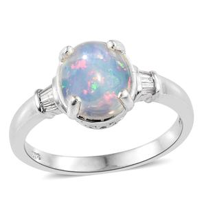 Ethiopian Welo Opal, Diamond Platinum Over Sterling Silver Ring (Size 10.0) TDiaWt 0.18 cts, TGW 2.33 cts.