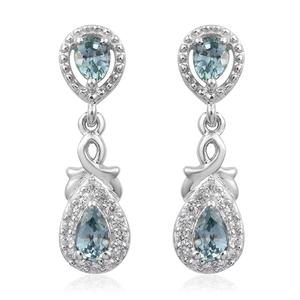 Montana Sapphire, Cambodian Zircon Platinum Over Sterling Silver Earrings TGW 1.18 cts.