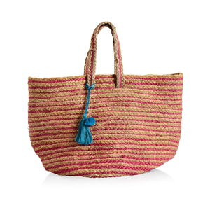 Fuchsia Stripe Natural 100% Jute Hand Braided Hessian Bag with Removable Pom Pom Tassels (17.5x10x9 in)