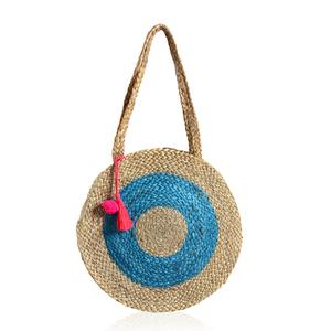 Turquoise and Neutral 100% Jute Round Bag with Pom Pom Tassels (15 in)