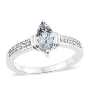 Espirito Santo Aquamarine, Cambodian Zircon Platinum Over Sterling Silver Ring (Size 7.0) TGW 1.10 cts.