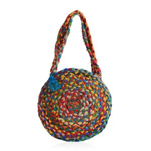 Multi Color 100% Cotton Hand Braided Round Bag with Pom Pom and Tassel (15 in)
