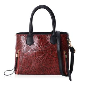 Maroon Floral Embossed Faux Leather Structure Bag with Removable Strap and Standing Studs (12x4x9.5 in)