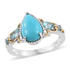 Arizona Sleeping Beauty Turquoise, Madagascar Paraiba Apatite 14K YG and Platinum Over Sterling Silver Ring (Size 5.0) TGW 3.38 cts.