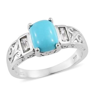 Arizona Sleeping Beauty Turquoise, White Topaz Platinum Over Sterling Silver Ring (Size 10.0) TGW 3.00 cts.