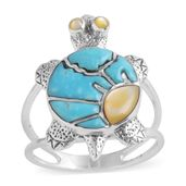 Santa Fe Style Kingman Turquoise, Mother of Pearl Sterling Silver Turtle Ring (Size 7.0) TGW 3.50 cts.