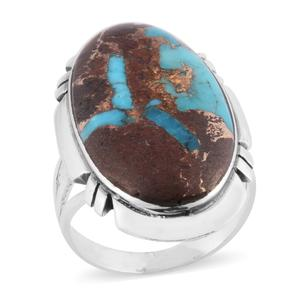 Santa Fe Style Turquoise Lava Sterling Silver Ring (Size 8.0) TGW 4.50 cts.