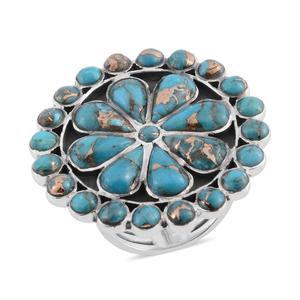 Santa Fe Style Mojave Blue Turquoise Sterling Silver Cocktail Ring (Size 8.0) TGW 9.10 cts.