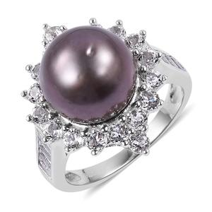 Tahitian Pearl (11-12 mm), White Topaz Sterling Silver Ring (Size 7.0) 0 TGW 2.00 cts.