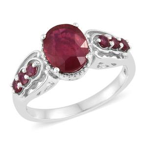 Niassa Ruby Platinum Over Sterling Silver Ring (Size 5.0) TGW 4.13 cts.