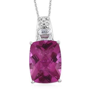 Radiant Orchid Quartz, White Topaz Platinum Over Sterling Silver Pendant With Chain (20 in) TGW 20.97 cts.