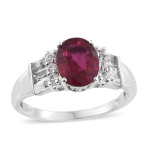 Niassa Ruby, White Topaz Platinum Over Sterling Silver Ring (Size 10.0) TGW 5.12 cts.