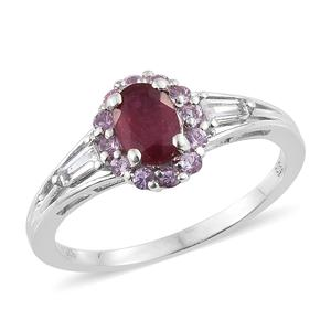 Niassa Ruby, Multi Gemstone Platinum Over Sterling Silver Ring (Size 7.0) TGW 1.82 cts.