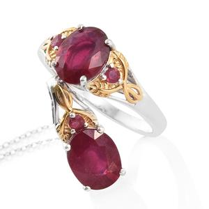 Niassa Ruby 14K YG and Platinum Over Sterling Silver Ring (Size 8) and Pendant With Chain (20 in) TGW 7.50 cts.