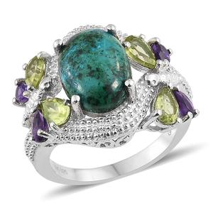 GP Table Mountain Shadowkite, Multi Gemstone Platinum Over Sterling Silver Dragonfly Ring (Size 8.0) TGW 9.00 cts.