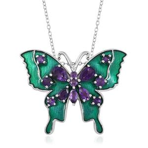 GP Amethyst, Kanchanaburi Blue Sapphire Platinum Over Sterling Silver Butterfly Pendant With Chain (20 in) TGW 1.75 cts.