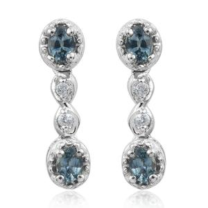 Montana Sapphire, Cambodian Zircon Platinum Over Sterling Silver Drop Earrings TGW 1.08 cts.