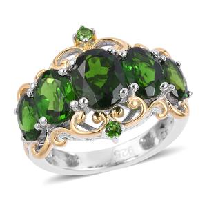 Russian Diopside Vermail YG Over and Sterling Silver Ring (Size 10.0) TGW 4.18 cts.