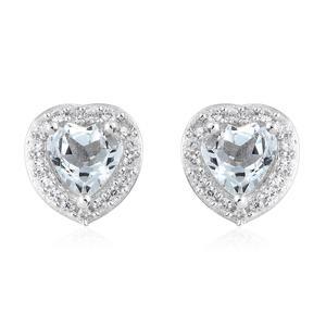 Espirito Santo Aquamarine, Cambodian Zircon Platinum Over Sterling Silver Earrings TGW 1.04 cts.