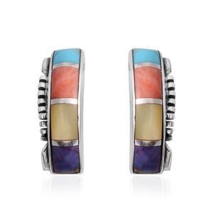 Santa Fe Style Multi Turquoise, Multi Gemstone Sterling Silver Stud Earrings TGW 0.75 cts.