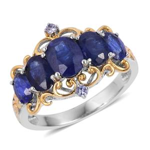 Masoala Sapphire, Tanzanite Vermail YG Over and Sterling Silver Ring (Size 6.0) TGW 5.58 cts.