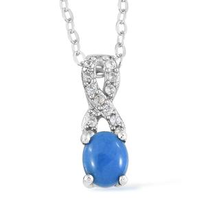 Ceruleite, Cambodian Zircon Platinum Over Sterling Silver Pendant With Chain (20 in) TGW 0.35 cts.