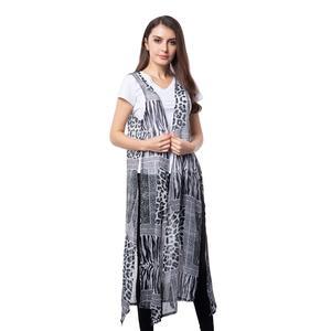 Black 100% Polyester Leopard Pattern Long Shape Vest (45x22 in)