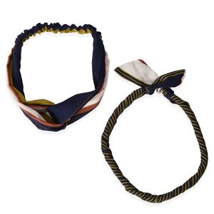 Navy 100% Polyester Strip Pattern Hairband (18x.75 in) and Necklace Scarf (18x.5 in)