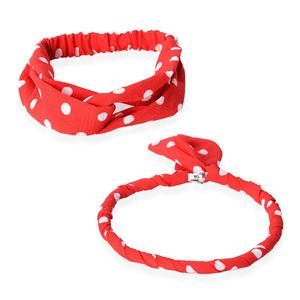 Red 100% Polyester Polka Dot Headband and Magnetic Clasp Necklace (18 in)